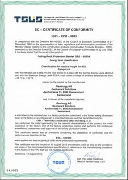 ETAG Certificate